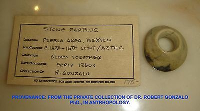 Pre-columbian Mexico Ancient Aztec Ear Plug  Polished Stone 14-15th Century AD.