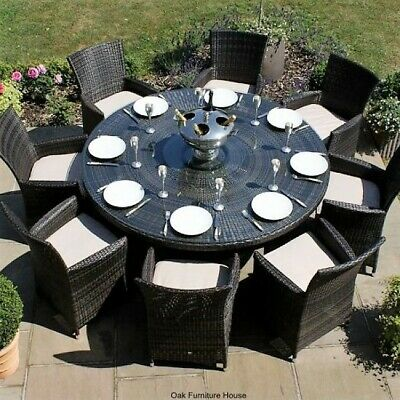 Milan Outdoor Garden Furniture 8 Seater Brown Round Dining Table Set