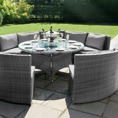 Bentley Rattan Outdoor Garden Furniture Grey Round Dining Table Sofa Set