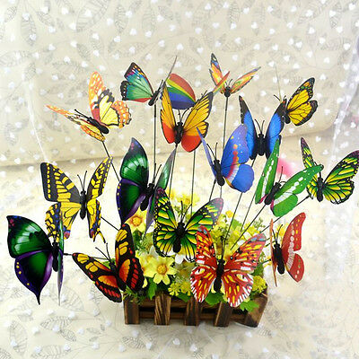 Popular 10PCS Cute Butterfly Sticks Home Decor Garden Vase Art Lawn Craft Decor
