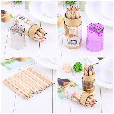 New 12 Watercolour Pencils Case Drawing Coloring Set Artists Sketching+Sharpener