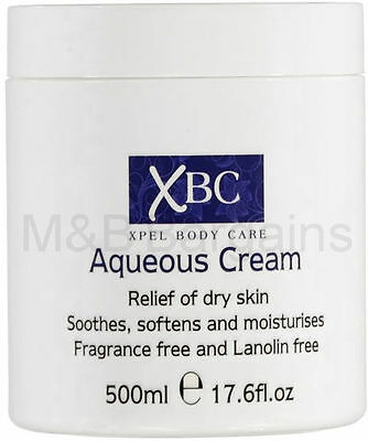 XBC Aqueous Cream Emollient 500ml Large Tub Relief for Dry Skin (Fragrance Free)