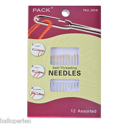 1Set Sewing Needles Self-Threading Silver Alloy 6.2x4cm