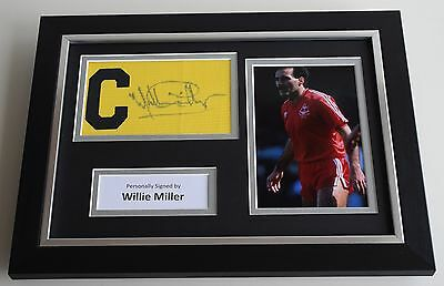Willie Miller SIGNED FRAMED Captains Armband A4 Display Aberdeen Football COA