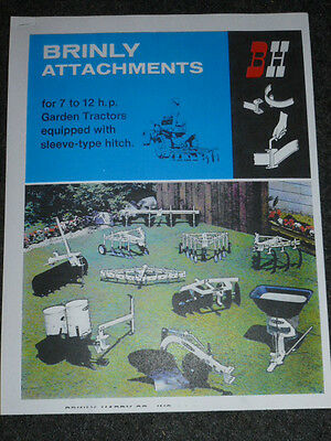 VINTAGE BRINLY HARDY SALES BROCHURE / ATTACHMENTS for 7 to 12 HP GARDEN TRACTORS