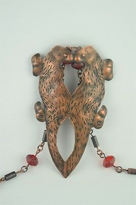 Atq Hudson Bay Kissing Otters Copper Fur Pendant w/ Indian Trade Bead Necklace