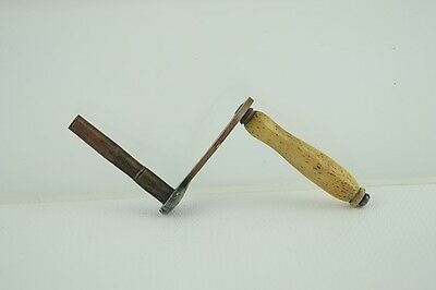 Antique Brass & Copper Lever Clock/Toy Wind Key w/ Polished Horn Handle 1/8""