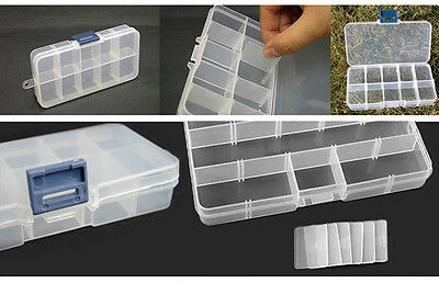 Plastic Storage Case Box 10 Compartment For Nail Art Tips Beads Craft Findings