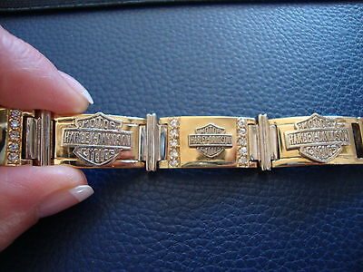 10K Yellow White Gold Harley Davidson Bracelet 41,7 Grams 7,75'' Long