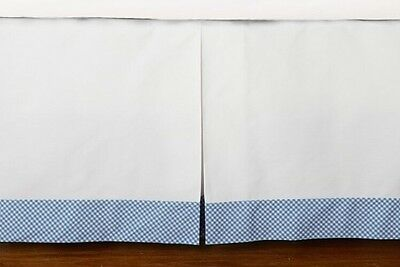 New & Sealed! Pottery Barn Kids Baby Tailored Gingham Blue Plaid Bed/ Crib Skirt