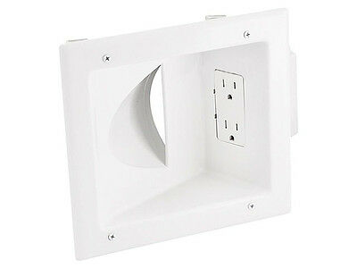 Monoprice Recessed Low Voltage Media Wall Plate W/ Duplex Receptacle - White NEW