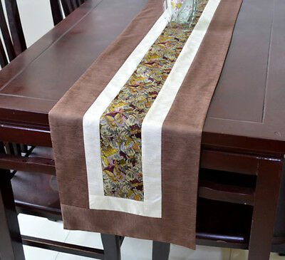 New Noble Classic Coffee Chinese Handmade Silk Table Runner Bed Flag