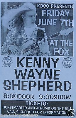 KENNY WAYNE SHEPHERD 1996 DENVER CONCERT TOUR POSTER - Blues Rock Music
