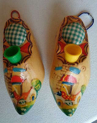 Wooden Shoes 2 (one pair) pin cushion and thimble Sticker Vintage Miniature 5""