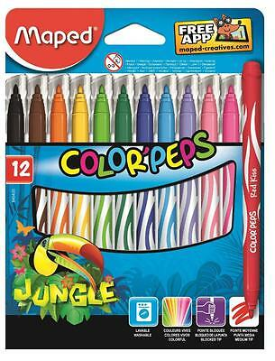 Helix Maped Jungle 12 Pack Washable Colour Peps Felt Tip Colouring Pens