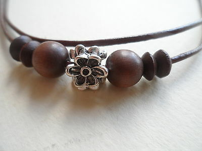 Brown Leather Daisy Chain/Ring Design Layered Adjustable Surf Necklace