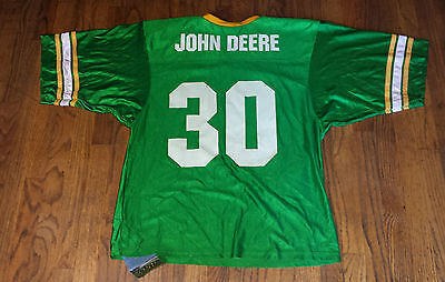 NWT John Deere Mens XL Football Jersey Green #30 Made in USA NEW Pack Tractor