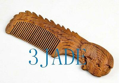 Hand Carved Natural Green Sandalwood Phoenix Comb