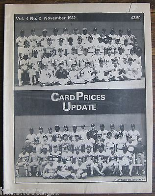 "1982 November ""Card Prices Update"", Vol. 4 No. 3, 32-page BB hobby publication"