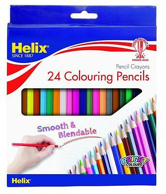 Helix 24 Pack Blendable Colouring Pencils 7 Inch Great For Adult Colouring Books