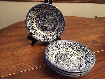 """Set of 4 ~ English Ironstone Kingswood Blue Willow ~ Soup Bowls ~ 6 1/2"""""""
