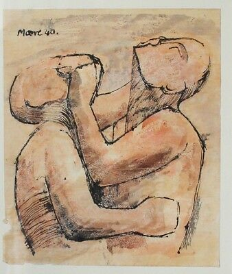 HENRY MOORE Ink+ Watercolour 1940 ORIGINAL PAINTING signed FAMOUS BRITISH ARTIST