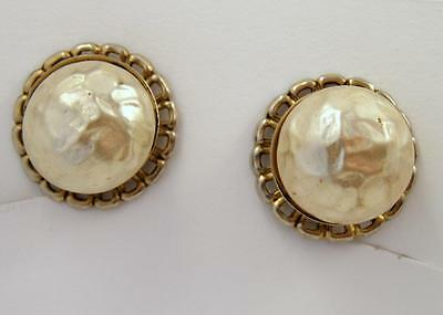 Bumped Up Sculpted Faux Pearl Floral White Openwork VTG SB EARRINGS