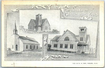 "Greensburg, Kansas Postcard ""CHURCHES OF GREENSBURG"" 3 Buildings c1910s"