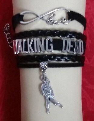 Walking Dead Faux Leather Charm Bracelet-U Choose-Us Seller-Daryl-Rick-Zombie