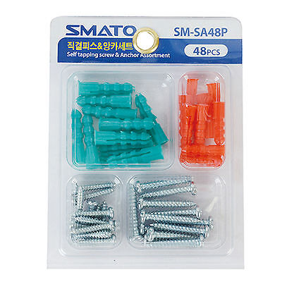 New Metal Self  Tapping Screw 24pcs & Anchor 24pcs Assortment Set SM-SA48P