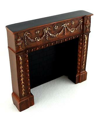 Dolls House Falcon Miniature Furniture Edwardian Rosewood Gold Fireplace