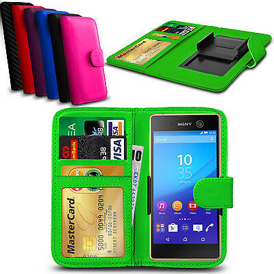 Clip On PU Leather Flip Wallet Book Case Cover For Sony Xperia C4