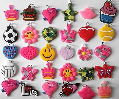 Kids Loom Bands Accessory 10 x Mixed Charms Girls DIY Craft NEW Free Post