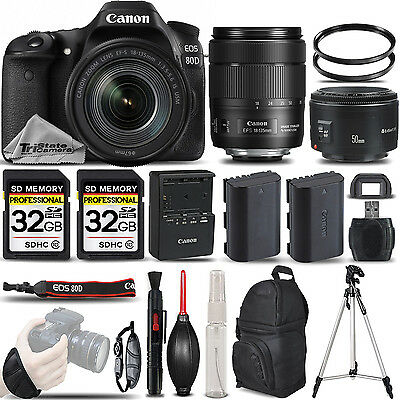 Canon EOS 80D DSLR Camera + 18-135mm IS USM + 50mm 1.8 LENS + EXT BATT -64GB KIT