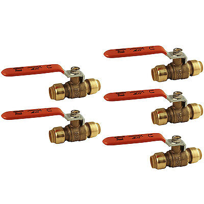 Sharkbite 22222-0000LF Copper Lead Free 1/2-inch Ball Valve Fittings, 5-Pack