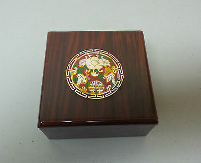 ANTIQUE CHINESE LACQUERED WOOD BOX w/ INLAID ENAMEL & MOTHER-OF-PEARL MEDALLION