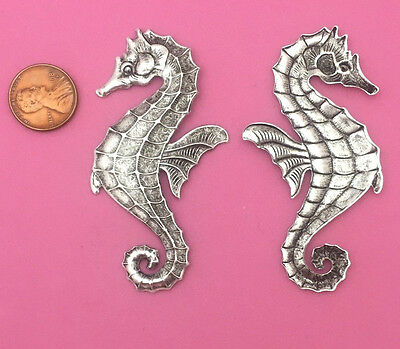 VINTAGE DESIGN ANT SILVER PLATED BRASS LG SEAHORSE - 1 PC(s)