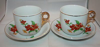 Vintage 2 Arabia Finland Isan Aidin Kuppi Mothers Fathers Mug Cups Saucers Rare