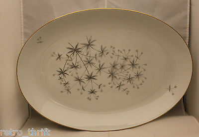 Bing and Grondahl Big15 Large Oval Serving Plate Gray Leaves Flower Bud Gold Rim
