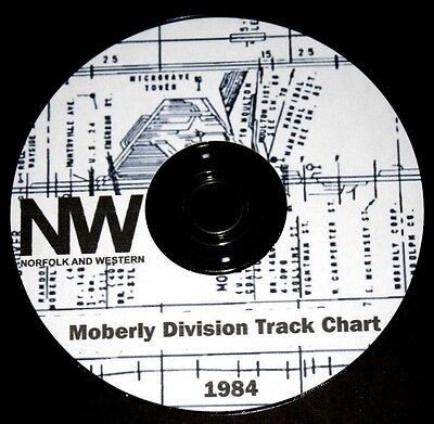Norfolk & Western, 1984 Western Region Moberly Div. Track Chart PDF Pages on DVD