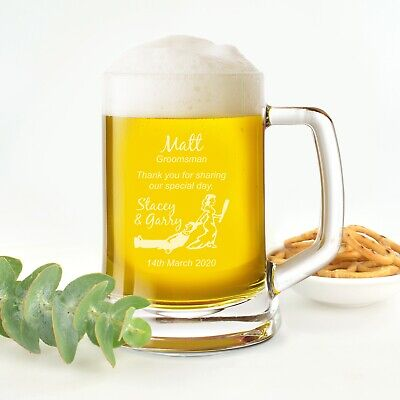LIMITED EDITION Personalised Favours Best Man Beer Mug / Stein - Glass Gift