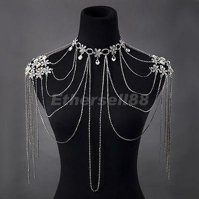 Wedding Bridal Diamante Crystal Tassle Shoulder Chain Necklace Earring Clips