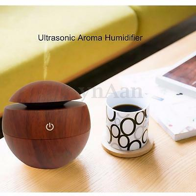 USB LED Wooden Grain Ultrasonic Aroma Humidifier Oil Diffuser Air Purifier Home