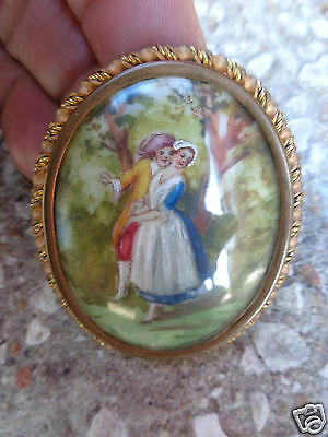 Antique Victorian Hand Painted French Courting Man Lady Couple Pin Old Estate