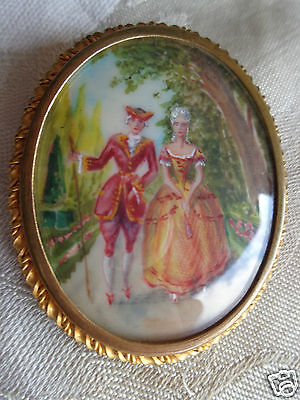 Antique Victorian Hand Painted Artist Signed French Man Lady Pin Old Estate