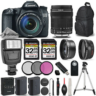Canon EOS 70D DSLR Camera + 18-135mm LENS +FLASH +UV, CPL, FLD FILTER -64GB KIT