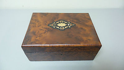 GORGEOUS 19th C. ANTIQUE BURL WOOD BOX, INLAID TOP, PADDED INTERIOR