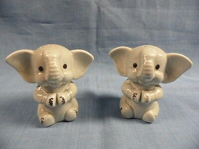 Vintage Anthropomorphic Pr Smiling Clapping Grey Elephant Salt & Pepper Shakers