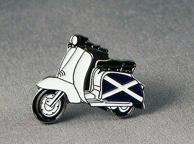 Metal Enamel Pin Badge Brooch Italian Scooter Lam Mod Rider Biker Red and White