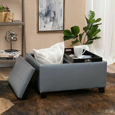 4TrayTop Espresso Brown Leather Storage Ottoman Coffee Table